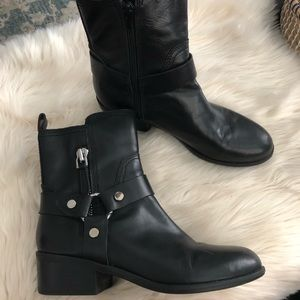 Marc Fisher black leather moto style ankle boots
